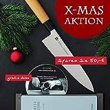 Chroma 3-teilig Messerset Haiku Original aus H-06 Kochmesser 20 cm mit Schleifstein und DVD Schleifanleitung