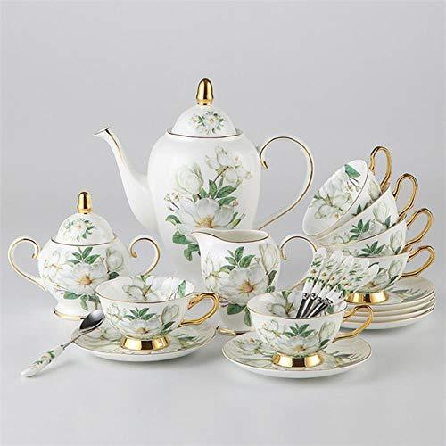 HHOME Europe Camellia Bone China Coffee Set British Porcelain Tea Set Ceramic Pot Creamer Sugar Bowl Teatime teapot Coffee Cup Mug,Full Set Porcelain Creamer