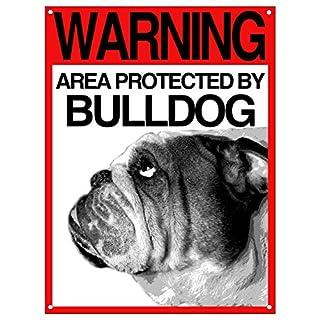 Lovelytiles Bulldog Inglese Blechschild ATTEN am Hund Warning Area Protected by