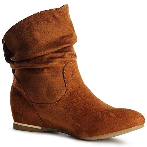 topschuhe24 887 Damen Keilabsatz Stiefeletten Boots Booties Camel