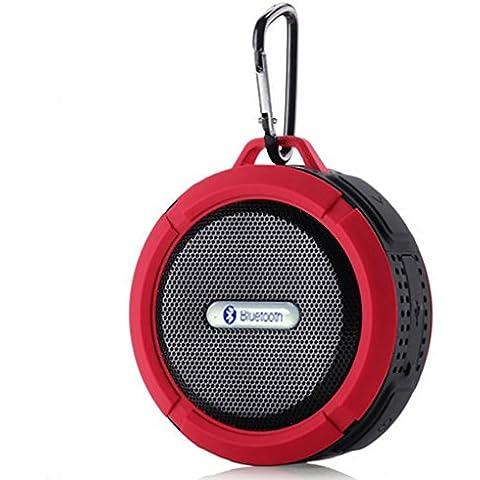 MP power @ Rojo Bluetooth estéreo bajo V + A2DP CICS 3.0 recargable IP65 altavoz impermeable inalámbrica 5W con ventosa. Construido en manos libres micrófono para Smartphone , todos los PDA, Tablet PC, iPad, Mac Aire, MP3 jugadores, PCs, ordenadores portátiles y todos los dispositivos Bluetooth para su uso en el baño de ducha, junto a la piscina, hogar u oficina, coche, camping, conducir, andar en bicicleta,