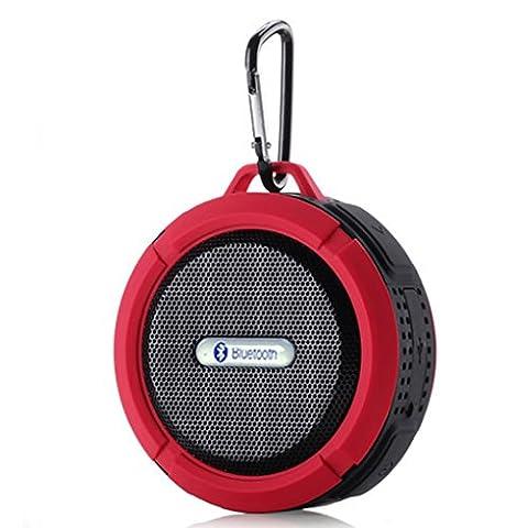 MP power @ Mini Enceinte Portable sans fil Etanche Haut-parleur Bluetooth V3.0 Rechargeable 5W 145g IPX5 Anti-Choc Neige Poussière + A2DP CISS Haut-parleur Stéréo Kit Mains Libres et Micro Intégré avec Ventouse Compatible avec et Tous les Périphériques Bluetooth - Convenable pour Douche Piscine Voiture Salle de bains, Bureau ou Domicile Camping de Conduite Vélo rouge pour iphone 6 , 6 plus , 5 5S ; Samsung Galaxy S6 S5 S4 S3 ; Sony xperia Z4 Z3 Z2 Z compact ; LG G3 G2 ;