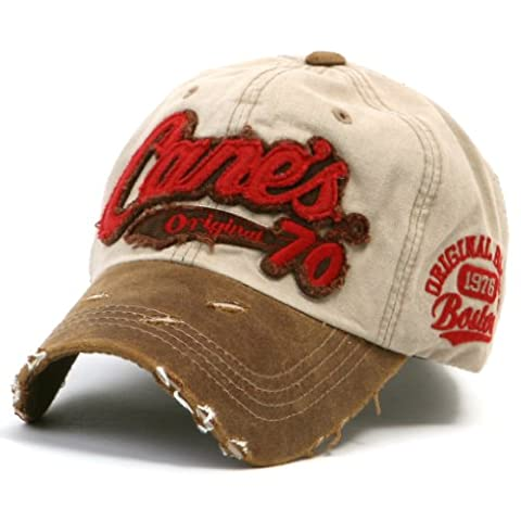 ililily Distressed Vintage Pre-curved Cotton embroidered logo Baseball Cap with