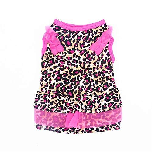ZHONGCHENYI Pet Supplies Stretch Seide Hund Kleidung Haustierkleidung Welpenrock Punkt/Leopard Hund Kleidung Geeignet Für Kleine Hund Prinzessin Kleid, Xs - Dot Kleid Pudel