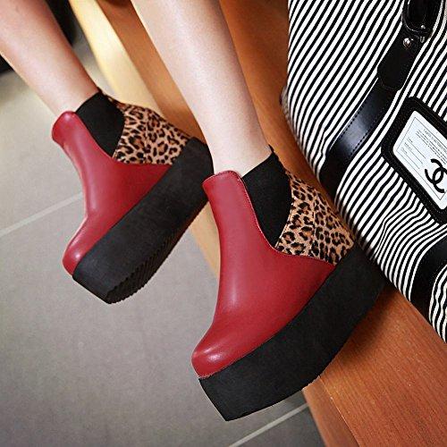 072781c42466 Mee Shoes Damen hidden heel Geschlossen warm gefüttert runder toe Ankle  Boots Rot