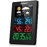 Excelvan - LCD Estacion Meteorologica Inalambrica Digital (Pronostico del Tiempo, DST, con Sensor Impermeable hasta 164 Pies, Monitor de Temperatura y Tiempo, Alarma, Fecha, Hora)