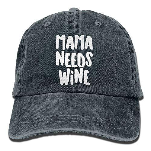 Sdltkhy Unisex Erwachsene Mama braucht Wein Wein Tag gewaschen Jeans Baumwoll Baseballmütze Papa Hut einstellbare natürliche Multicolor31 - Natürliche Einstellbare Hut
