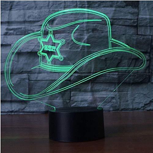 3D Nachtlichter 3D Bunte Led Gradienten Cowboy Hut Nachtlichtkappe Usb Kinder Schlaf Schlafzimmer Nacht Dekor Dekor Leuchten Schreibtisch Tischlampe