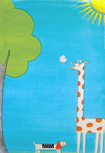 Little Helper IVI - Alfombra hipoalergénica de tamaño grande (100 x 150 cm) con bordado en relieve, diseño jirafa, color turquesa
