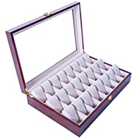 Feibrand Wooden Watch Display Storage Box Case for 24 watches Red