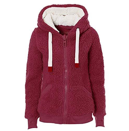FNKDOR Femme Veste Polaire Zippé Sweat-Shirt à Capuche Manteau Hoodie Chaud Automne Hiver(Rouge 3,XL)