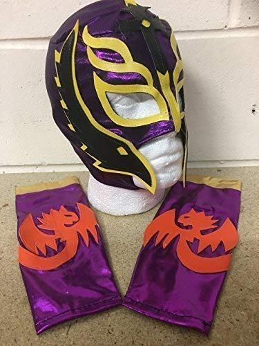 Rey Kind Kostüm Wwe Mysterio - Wrestling Rey Mysterio Kinder - Lila - Reißverschluss Maske & Arm Ärmel Armbinden WWE Kostüm Verkleiden Outfit Halloween