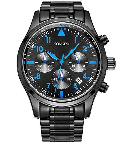 SONGDU-Herren-Quarz-Armbanduhr-Schwarz-Edelstahl-Armband-Draussen-Sport-Chronographen-Analog-Datum-Blaue-Zeiger