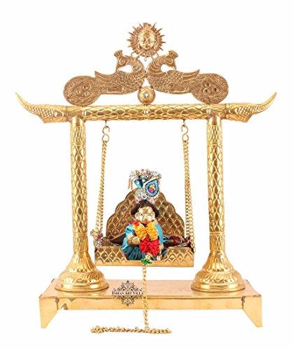 Indianartvilla Laddu Gopal Krishna in ottone con set di 1Swing Jhula | per Poojan tempio Home decorativo articolo da regalo