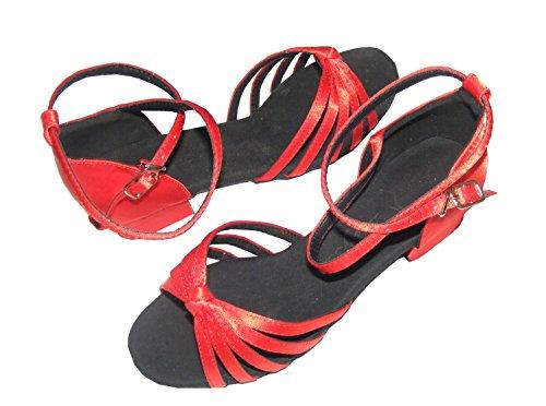Colorfulworldstore Scarpe da bambina per balli latino-americani 5 fasce con nodino in raso rosa/beige/rosso fuoco Rosso fuoco