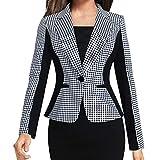 DIPOLA Damen Mantel Naht Jacke Hahnentritt Kontrast Slim Anzug Jacke Kontrast Farbe Slim Anzug