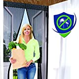 MAGNETIC SCREEN DOOR - 99 x 210cm Black - US Military Approved - 60g Mesh and 1,400 gs Magnets - Reinforced With Full Frame Hook and Loop Fasteners to Ensure All Bugs Are Kept Out - Tough and Durable