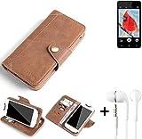 K-S-Trade® Schutzhülle für Allview V2 Viper i4G Hülle Tasche Handyhülle Handytasche Wallet Flipcase Cover Handy Tasche Kunsteleder Braun Inkl. in Ear Headphones