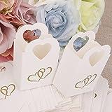 100 Pezzi Scatole Portaconfetti Bomboniere Con Manico Cuore Elegante Bianco e Nero Matrimonio (100pz Bianco)