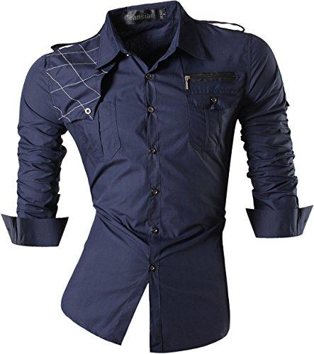 jeansian Uomo Camicie Maniche Lunghe Moda Men Shirts Casuale Cime 8371 Navy