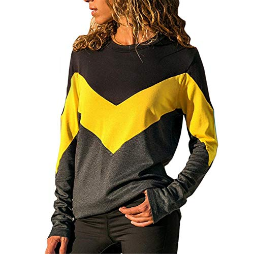 NINGSANJIN Sweatshirt Damen Tumblr Sweatjacke Pullover Langarmshirts Frauen Oversize (Gelb,M)