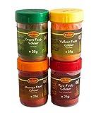 4 x 25g SET Lebensmittelfarbe Pamai Pai® ROT GRÜN GELB ORANGE Pulver Lebensmittel Farbe