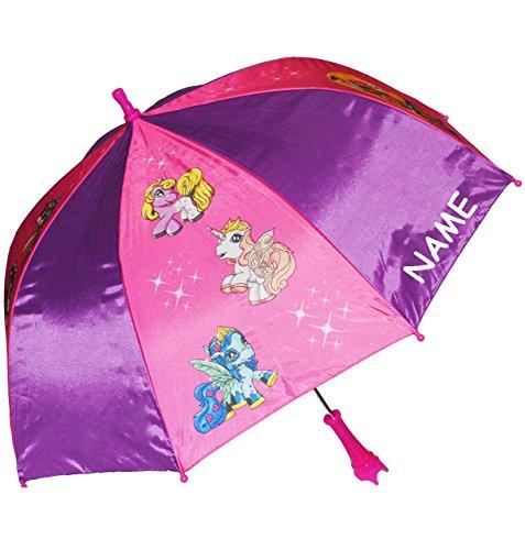 alles-meine.de GmbH Regenschirm -  Filly Pferde / Einhorn  - incl. Name - Kinderschirm Ø 68 cm - Kinder Stockschirm - Regenschirm - Schirm für Mädchen - Kinderregenschirm / Glo..