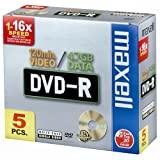 Maxell DVD-R onbewerkte 4,7 GB 8 x 5 stuks Jewel Case