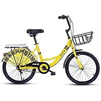 Paseo Bicicleta Plegable Bicicleta Unisex conmutador Retro Dama Ultraligera Bicicleta portátil (Color : Yellow,