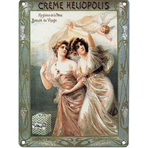Creme Heliopolis Maquillaje Cara Creme baño Francés Teatro - Antigua Anuncio Vintage para cocina, hogar, baño o tienda Metal/Cartel De Acero Para Pared - acero, 15 x 20 cm