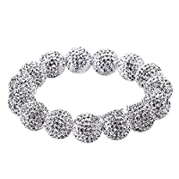 Hign End Designer Swarovski Crystal Beads Disco Ball Shamballa Bracelet For Women - Elastic 18cm - Silver White