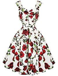 Hearts & Roses London weiß und rot Blumenmuster Vintage Retro 1950s Ausgestellt Nachmittagskleid