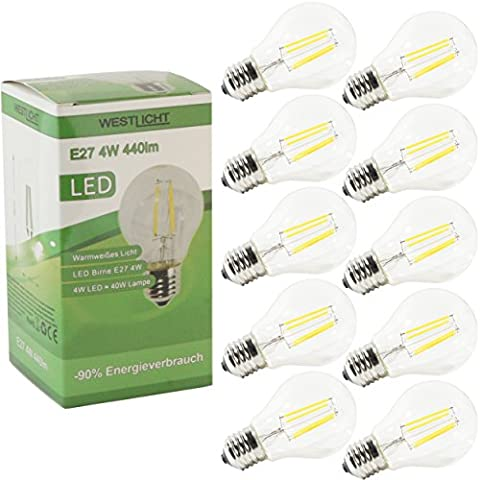 10x Westlicht® Filament | E27 4W 440 Lumen LED | Leuchtmittel AC 230V 270° warmweiß