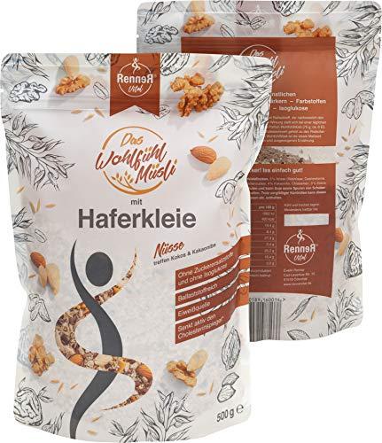 Vitaltaler RennerVital Haferkleie Müsli Chia Samen Nuss cholesterinsenkend Protein Müsli Porridge Slow carb Lebensmittel diabetes frei von künstlichen Aromen gesund abnehmen