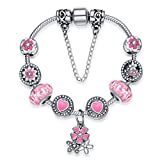 Charm Bracciali Rosa con Charm Ciondolo Fiore, Placcatura Argento Regalo di Compleanno da Shysnow