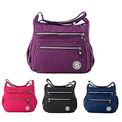 Women's Casual Multi Pocket Nylon Messenger Bags Cross Body Shoulder Bag Travel Purse