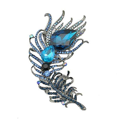 LFDXZ Hämatit Metall Gunmetal Blue Teardrop Crystal Strass Feder Brosche