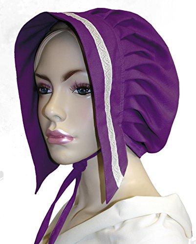 eine Tudorhaube mit Bordüre - lila - FG (Tudor Kostüm Bilder)