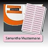 128 gedruckte, selbstklebende Namen-Etiketten - rosa, schwarze Schrift - 6 mm x 35 mm (max. 25 Zeichen) - in Industriequalität - von Luminess - Made in Germany