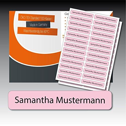 128 gedruckte, selbstklebende Namen-Etiketten - rosa, schwarze Schrift - 6 mm x 35 mm (max. 25 Zeichen) - in Industriequalität - von Luminess - Made in Germany (Zeichen Gedruckte)