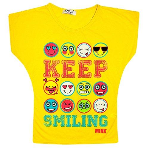Fast Fashion Mädchen Oben Plain Langen Ärmeln Scoope Nacken Dehnbar T-Shirt Gelb 3