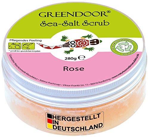 Greendoor Körperpeeling Meersalz Rose, natürliches Peeling ohne Mikroplastik für Damen, 280g Duschpeeling ohne Konservierungsmittel, mit straffendem Mandelöl, Body Scrub, Naturkosmetik Sauna-Salz - Meer Peeling Totes Gesicht