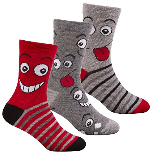 Zest Boys Funny Face Striped Socks Red 9-12