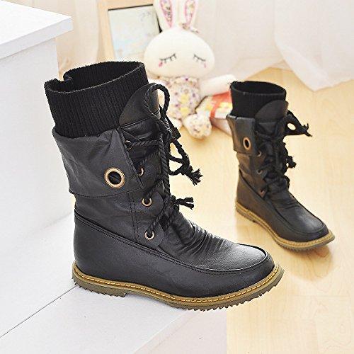 &ZHOU Bottes d'automne et d'hiver Bottes courtes pour femmes adultes Martin bottes bottes Chevalier A4-1 Black