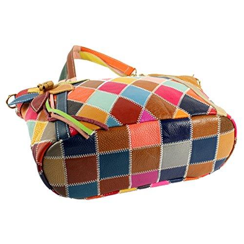Keshi Damen Handtaschen, Hobo-Bags, Schultertaschen, Beutel, Beuteltaschen, Trend-Bags, Velours, Veloursleder, Wildleder, Tasche Kuhleder Mehrfarbig