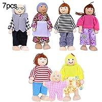 SunYueY Familia De Madera Marioneta Vestida Articulaciones Flexibles Muñeca Niños Juguete Regalo De Cumpleaños, Juego De Regalo De Juguete Intelectual 7 Miembros