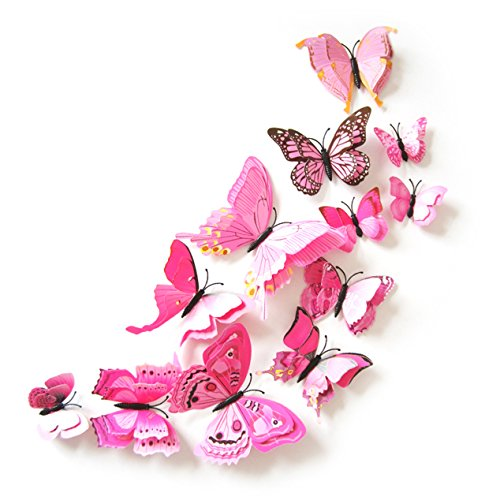 Oblique Unique 3D Schmetterlinge Doppelflügel Effekt Blumen 12er Set Dekoration Wandtattoo (Rosa)