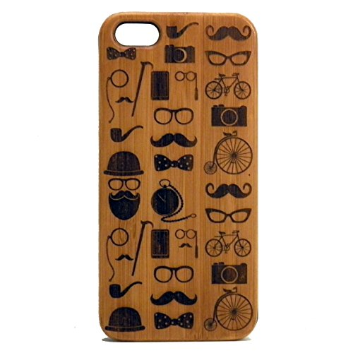Hipster Ikonen iPhone 5 C Fall. Schnurrbart Bart Brille Schleife Tophat Rohr Kamera Fahrrad Monocle. Bambus, Holz.