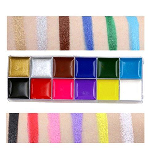 Petansy 12 Farben Halloween Gesichtsfarbe Palette Professionelle Körper Malerei Set Nicht-Toxische Malerei Palette (Party Malen Kit Gesicht Palette)