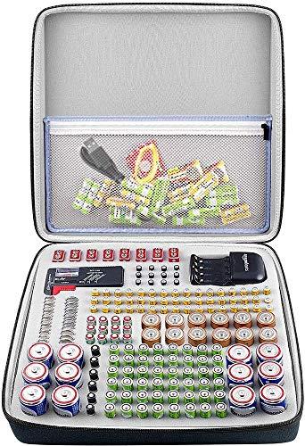 Batterie Aufbewahrungsbox für Batterieorganisator mit Batterietester (BT168), Tasche Halter für 184 Batterien AA AAA AAAA 9 V 6 V C D Lithium 3 V A23 NI-MH-Ladegerät (ohne Batterien und Ladegerät)